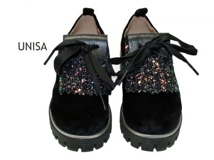 Unisa veterschoen black velvet